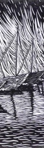 Bailey Rogers - Harbor - linocut - 2012 detail