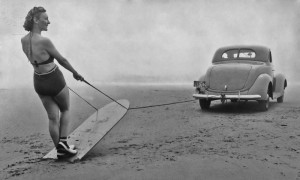 Sand Surfing Sand Surfing, Geraldine Mathis being pulled along on her surfboard by a car driven along the smooth hard sand near the mouth of the Necanicum River in Oregon circa 1940. (Photo by FPG/Getty Images) FPG / Archive Photos / Getty Images / Universal Images Group