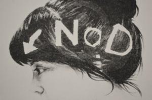 Jessica Allard, Nod, monoprint lithograph