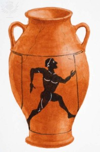 Greek urn with illustration of a running man. Dorling Kindersley / Universal Images Group Rights Managed / For Education Use Only